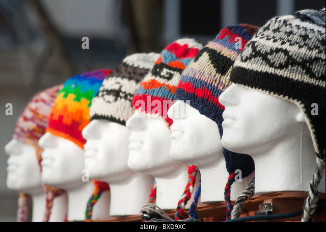 Colourful Woolly Hats For Sale In Worcesteru0027s High St On A Cold Winteru0027s Day.  England