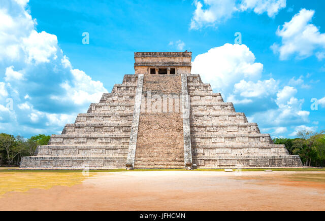 Chichen Itza , Mexico - April 18, 2016: Archaeological site, view of the imposing Castle ( El Castillio) - Stock Image
