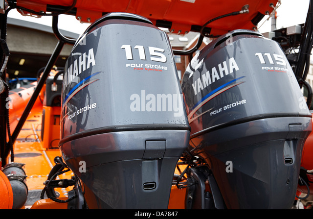 Yamaha outboard motor stock photos yamaha outboard motor stock twin yamaha 115 horsepower four stroke outboard engines on rnli lifeboat county down northern ireland uk sciox Image collections