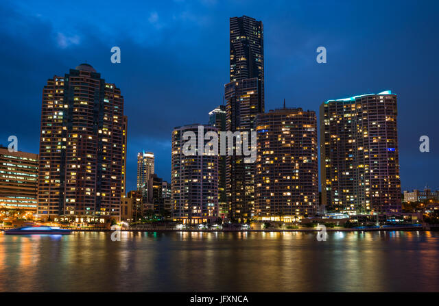 Brisbane city skyline after dark. Queensland. Australia. - Stock Image