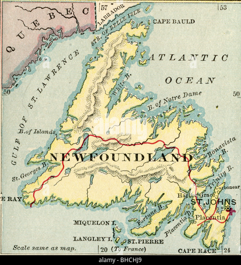 Map Of Newfoundland Stock Photos Map Of Newfoundland Stock - Map of newfoundland