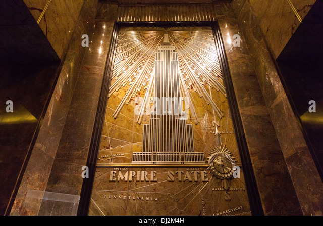 Empire state building art deco stock photos empire state for Empire state building mural