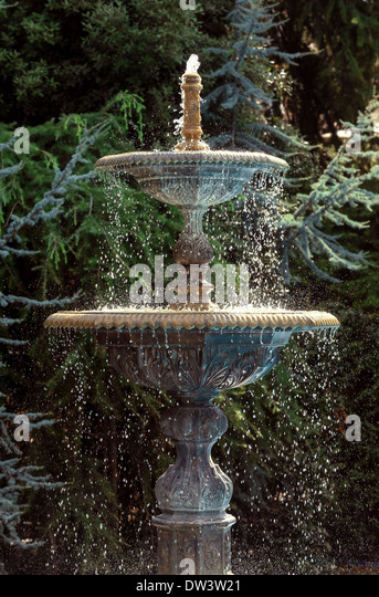 Two Tiered Stone Fountain   Stock Image