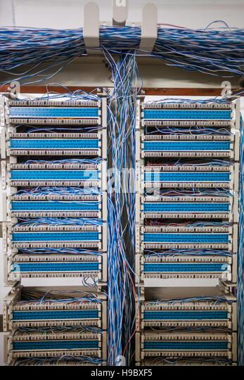 Telephone Exchange Wiring Diagram : Old telephone exchange cable stock photos