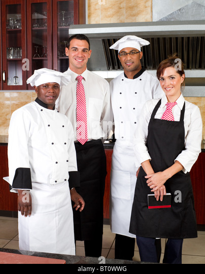 Restaurant Kitchen Staff portrait restaurant manager kitchen staff stock photos & portrait