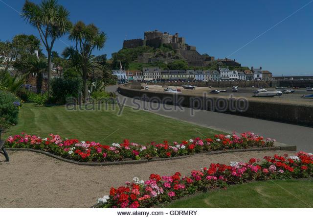 Mont orgueil castle stock photos mont orgueil castle for Garden design jersey channel islands