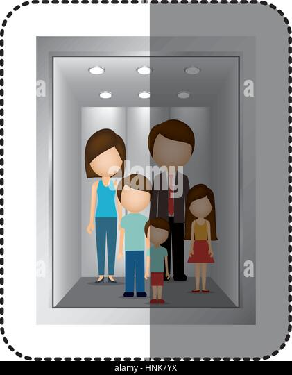 people in elevator clipart. elevator with people inside icon image, vector illustration - stock image in clipart
