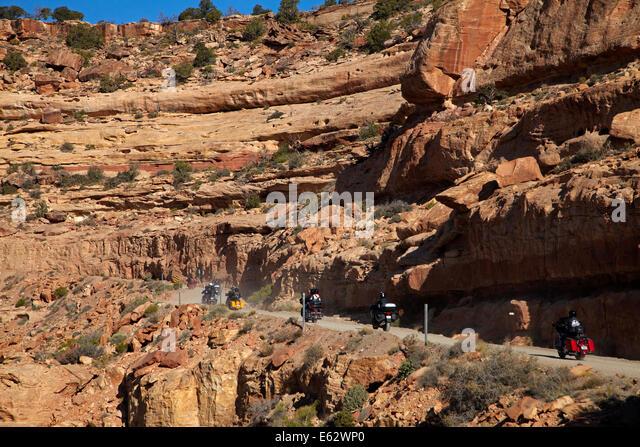 Switchback road climbing cedar mesa san juan county stock image