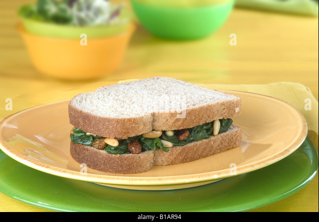 Catalan-style spinach sandwich - Stock Image