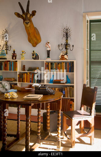 Interior Of Ernest Hemningways Writing Room At His Home In Key West Florida USA