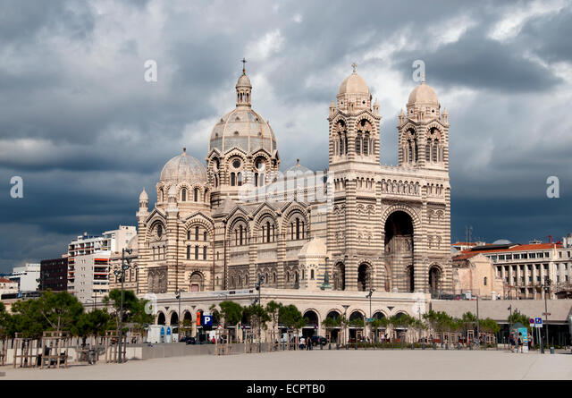 Cathedral fort marseille waterfront stock photos - Parking vieux port fort saint jean marseille ...
