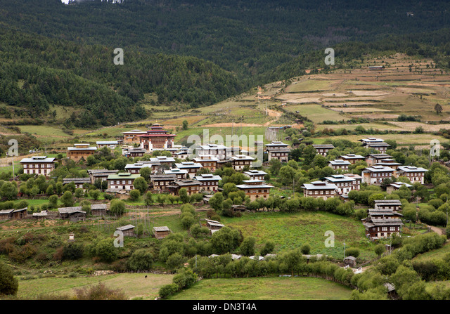 Eastern Bhutan Ura Village Houses Closely Grouped Around The Lhakang Temple Stock Image
