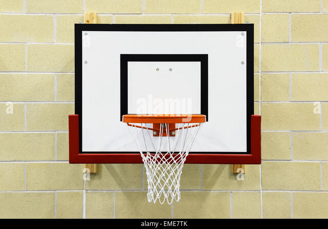 close up of an indoor wall mounted basketball hoop stock image