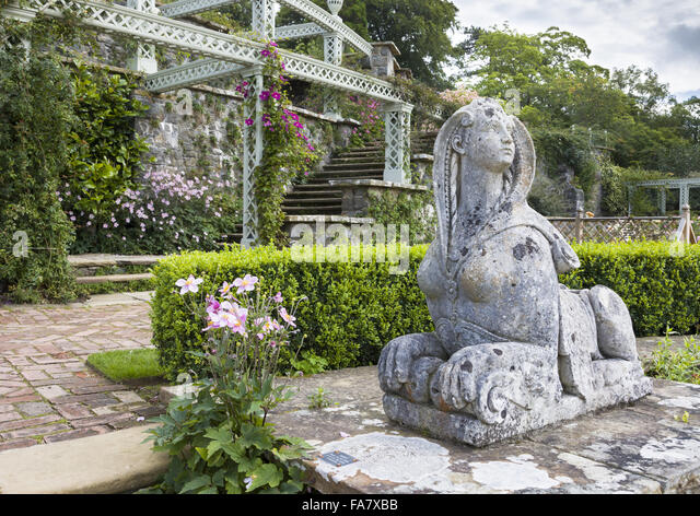 A Statue Of A Sphinx On The Terrace At Bodnant Garden, Conwy, Wales,