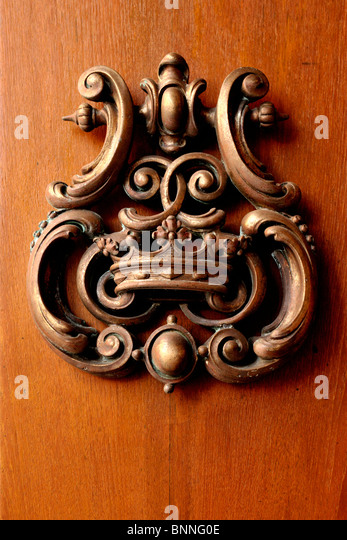 Beautiful Metallic Ornate Door Knocker, Palazzo Parisio, Naxxar, Malta   Stock Image