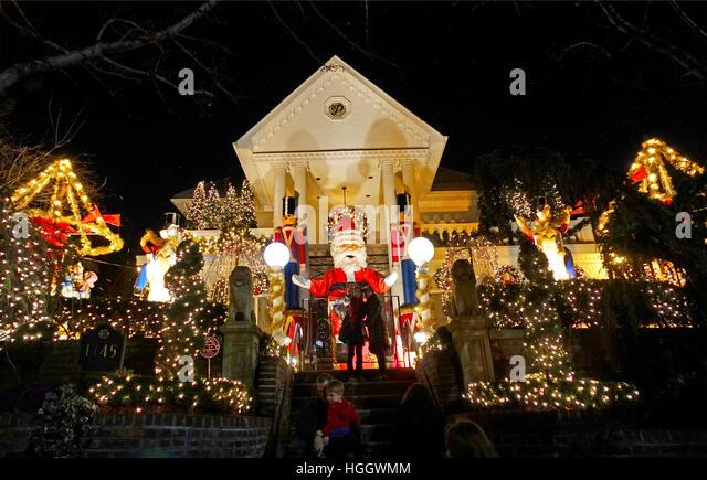 christmas lights brooklyn new york stock image - Mm Christmas Lights