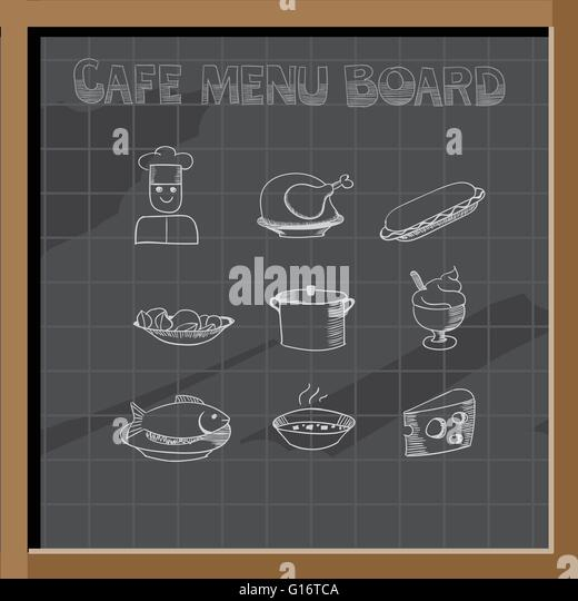 hand drawn cafe menu board signs and food collection on chalkboard stock image
