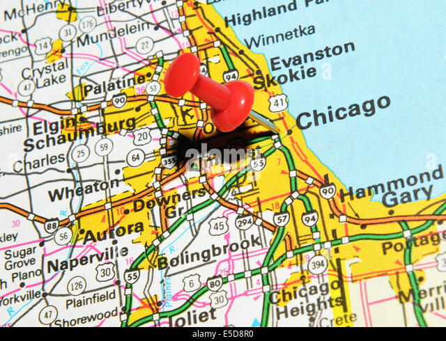 Chicago On Us Map Stock Image