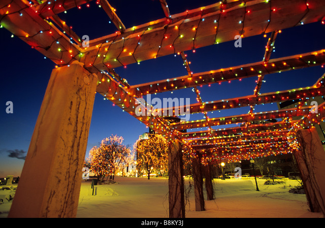 holiday lights in small park along the mississippi river downtown st paul minnesota - Christmas Lights Minneapolis