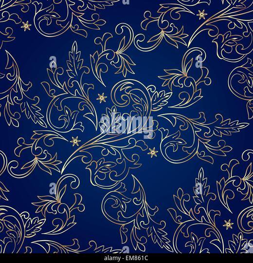 Blue Gold Royal Wallpaper Seamless Stock Photos & Blue ...