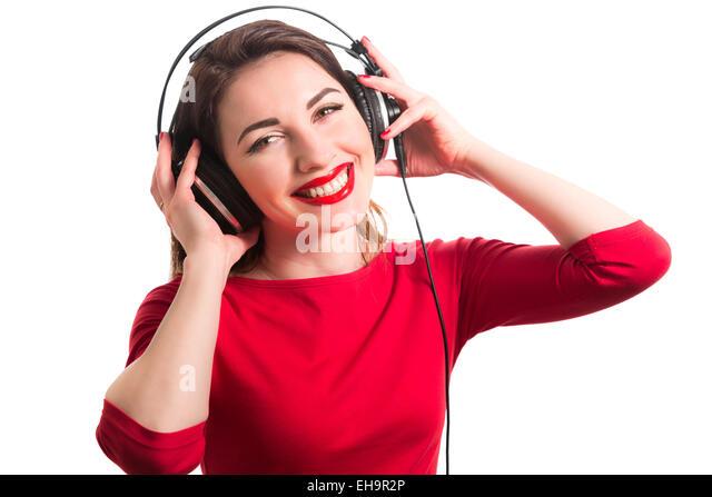 Girl Wearing Red Lipstick Stock Photos & Girl Wearing Red Lipstick ...