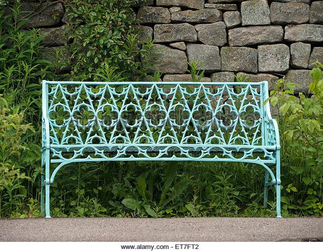Good Ornate Metal Garden Bench Seat By Drystone Wall, Chatsworth Gardens,  Derbyshire, UK.