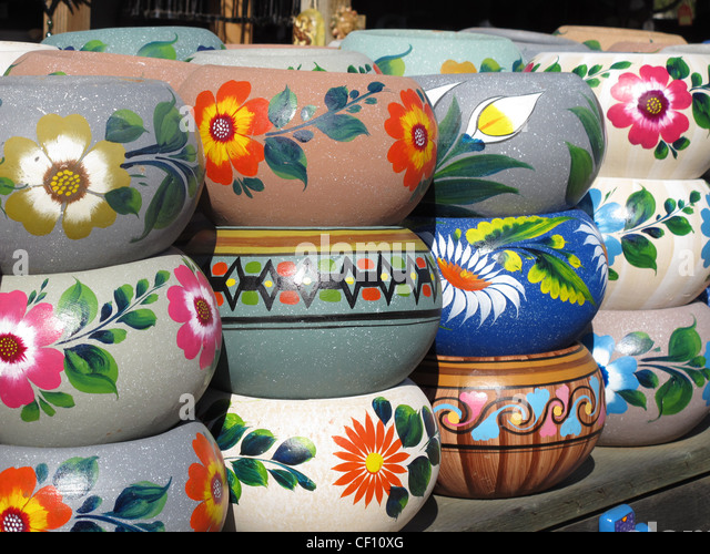 Lovely Ceramic Pots For Sale Part - 4: Painted Ceramic Pots On Sale In A Store In The Old Town District Of San  Diego