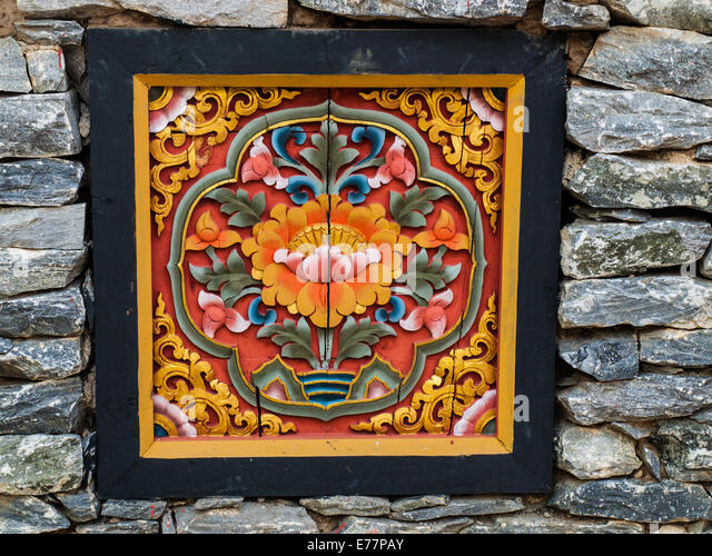 Bhutan Bhutanese Temple Design And Decoration Depicting The