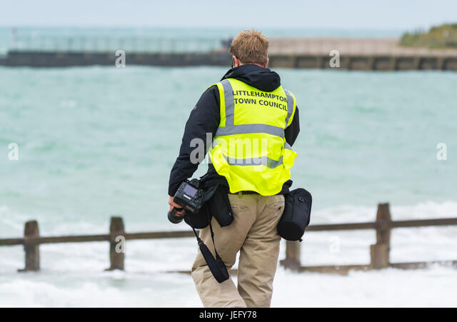 Council photographer at an outdoor event. Official photographer. - Stock Image