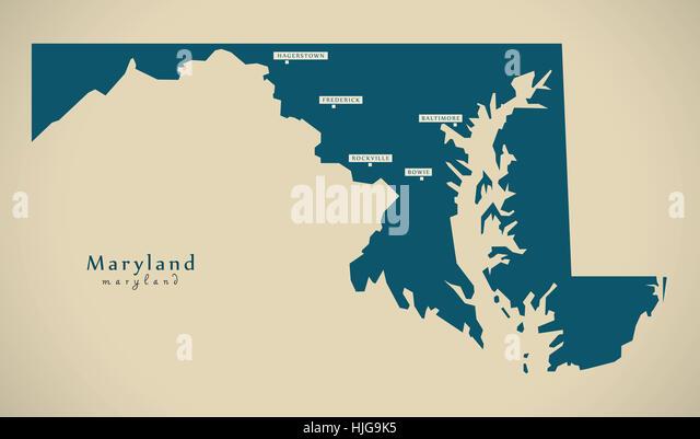 Maryland Map Stock Photos Maryland Map Stock Images Alamy - Map of maryland usa