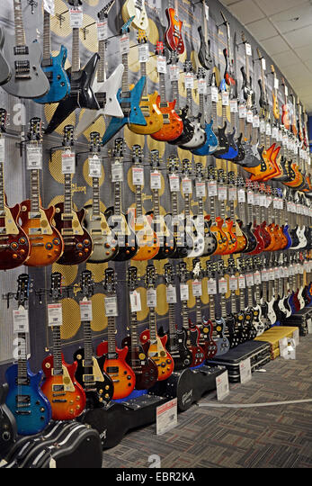 new epiphone fender gibson guitars for sale at the guitar center stock photo picture and. Black Bedroom Furniture Sets. Home Design Ideas