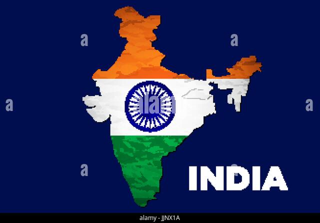 India Flag Map: Map India Tricolor Vector Design Stock Photos & Map India