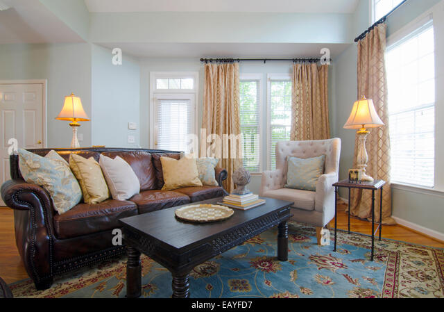 Living Room A Modern Living Room With Traditional Furnishings Stock Image