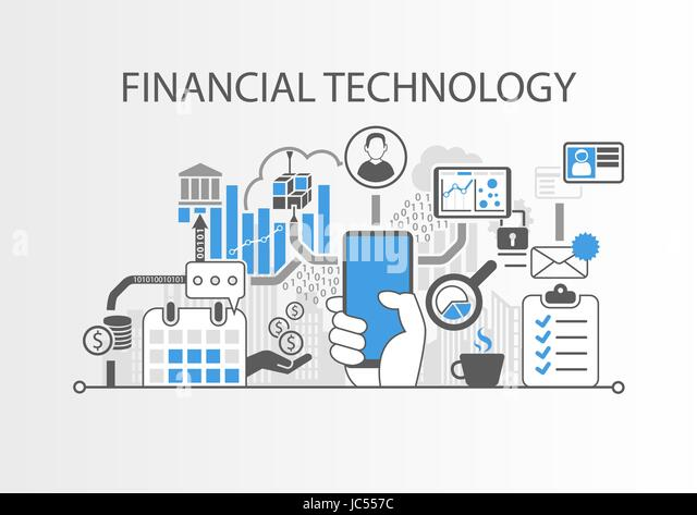 Financial Technology / Fin-Tech concept vector background with hand holding smartphone - Stock Image