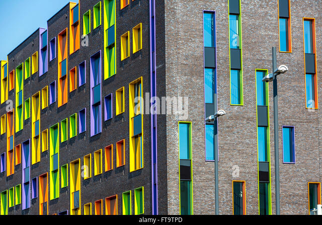 Facade of a modern building, with colorful window frames, Eindhoven, The  Netherlands,