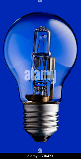 Halogen Light Bulb Stock Photos & Halogen Light Bulb Stock Images ...:Realistic photo image of a halogen light bulb isolated on a blue background  and with a,Lighting