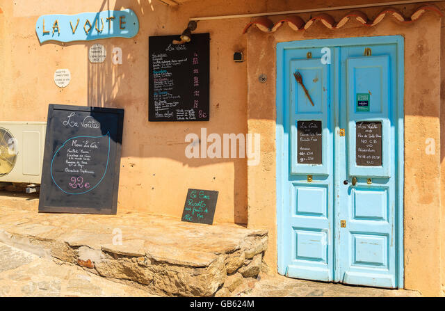 calvi corsica island jun 28 2015 blue doors of traditional restaurant in - Blue Restaurant 2015