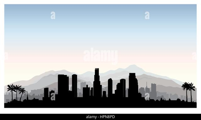 los angeles usa skyline city silhouette with skyscraper buildings mountains and palm trees