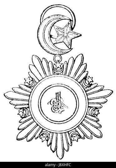 military sultan crescent half moon star order emblem black