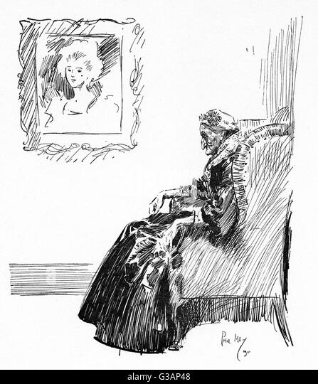 Elderly Woman Seated In A Comfy Chair Beneath Portrait Depicting Her The Full