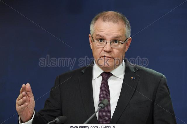 Epa05469834 australian federal treasurer scott morrison speaks during