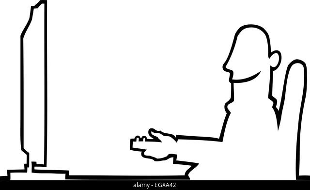 watching tv clipart black and white. black line art illustration of a sitting man watching tv. - stock image tv clipart and white
