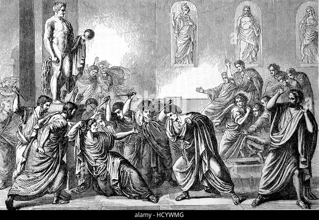the story of julius caesars assassination How julius caesar's assassination took place over 40 people were involved in the plot to murder julius caesar, or, as they called it, commit tyranicide they organized a gladiator game and a meeting of the senate during the meeting, casca struck at ceasar with a dagger, after which caesar acted in surprise.