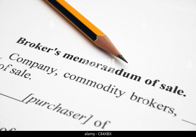 Broker memorandum of agreement