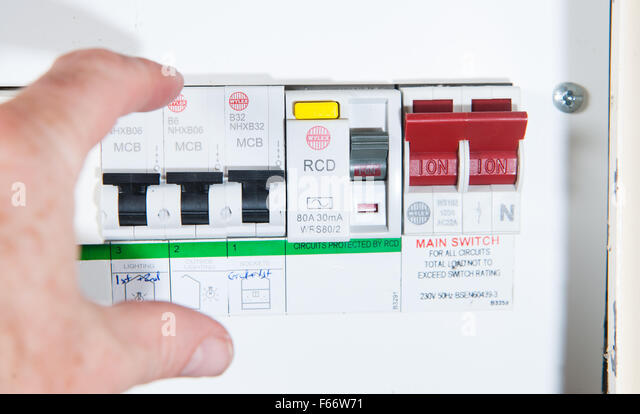 domestic home electrics main fuse box with switch being thrown f66w71 fuse box domestic stock photos & fuse box domestic stock images rcd fuse box at aneh.co