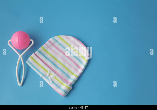 top view fashion trendy look of baby clothes, baby fashion concept - Stock Image