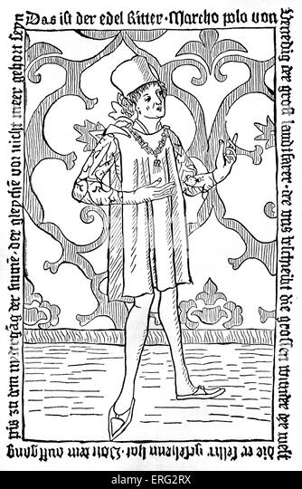 marco polo engraving from the title page of the first german edition of the