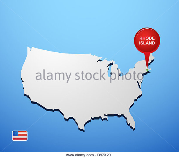 rhode island on usa map stock image