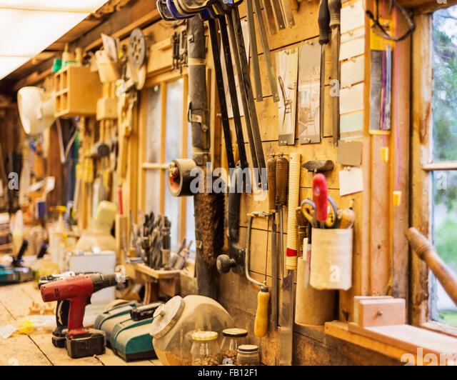 carpentry workshop. interior of carpentry workshop - stock image w