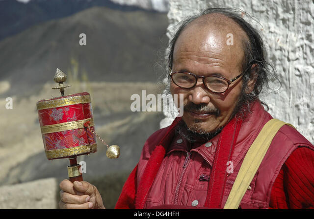 Buddhist Tibetan Monk Spinning Prayer Stock Photos ...